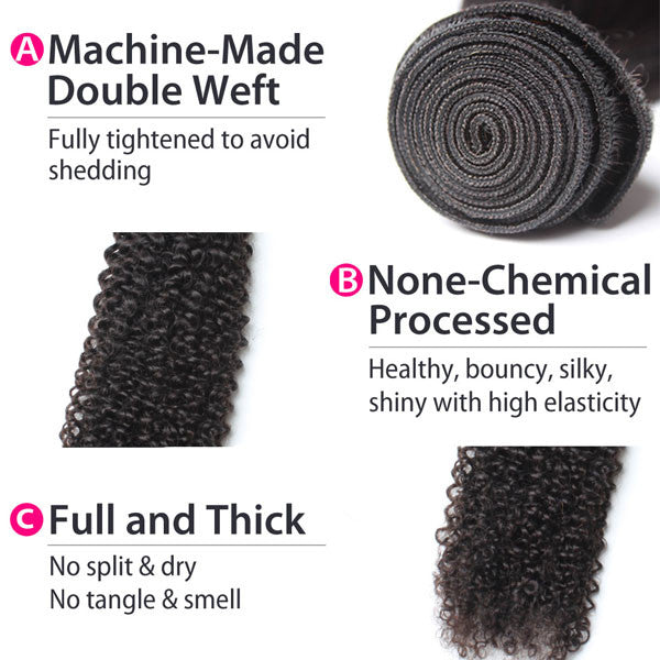 Luxury 10A Malaysian Kinky Curly Hair 4 Bundles Details