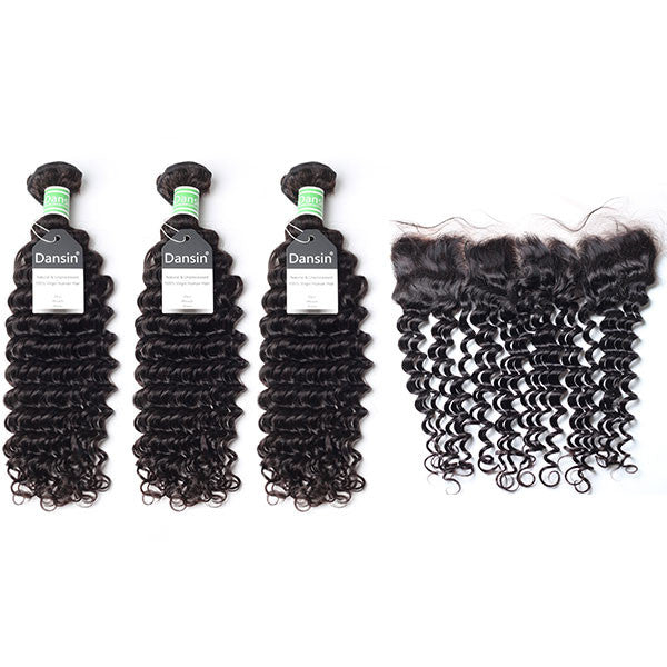 Brazilian Deep Wave Hair 3 Bundles With 1 Pc Lace Frontal