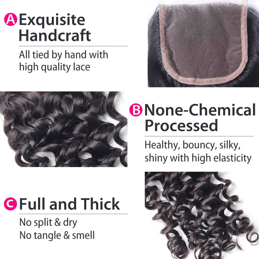 Luxury 10A Malaysian Curly Lace Closure Details