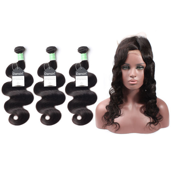Brazilian Body Wave Hair 3 Bundles With 1 Pc 360 Lace Frontal