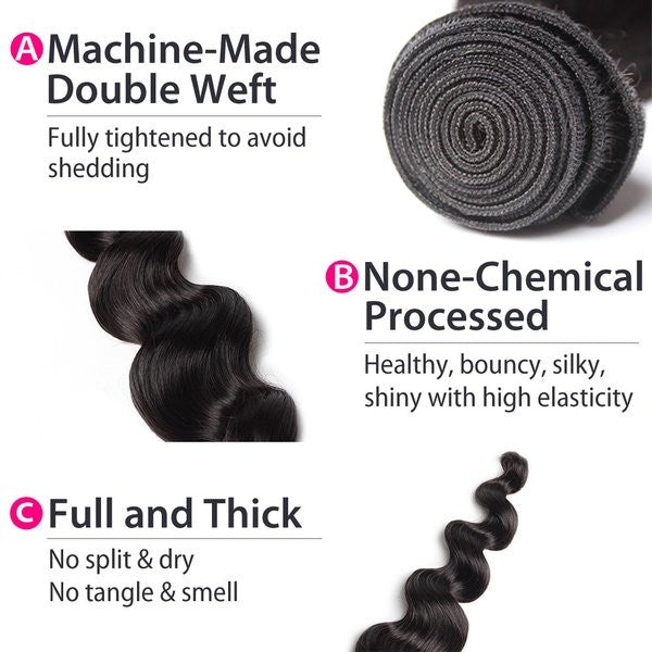 Luxury 10A Peruvian Loose Wave Hair 2 Bundles Details