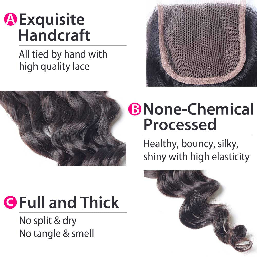 Luxury 10A Malaysian Loose Wave Lace Closure Details