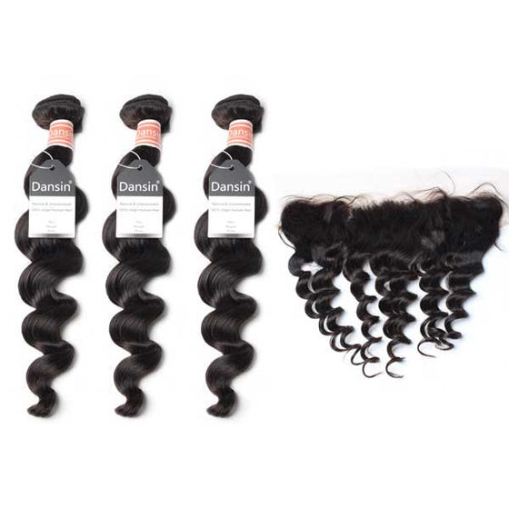 Malaysian Loose Wave Hair 3 Bundles With 1 Pc Lace Frontal