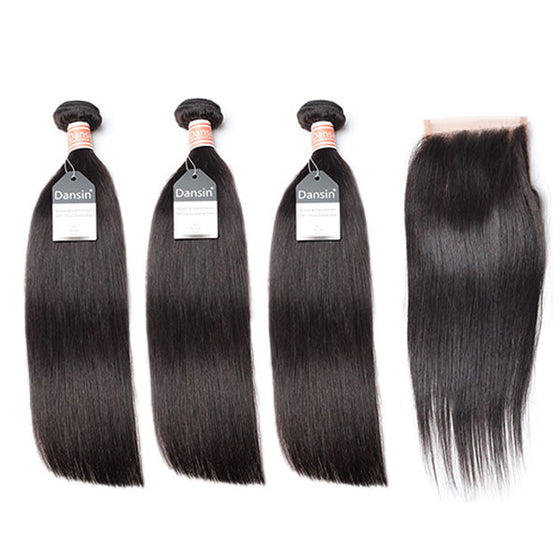 Malaysian Straight Hair 3 Bundles With 1 Pc Lace Closure