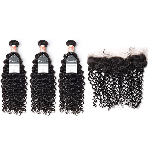 Luxury 10A Malaysian Curly Hair 3 Bundles With 1 Pc Lace Frontal