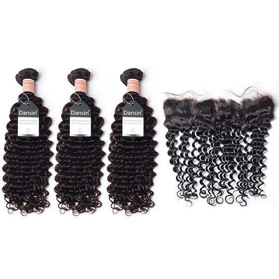Malaysian Deep Wave Hair 3 Bundles With 1 Pc Lace Frontal