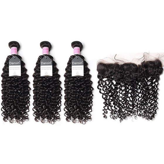 Peruvian Curly Hair 3 Bundles With 1 Pc Lace Frontal