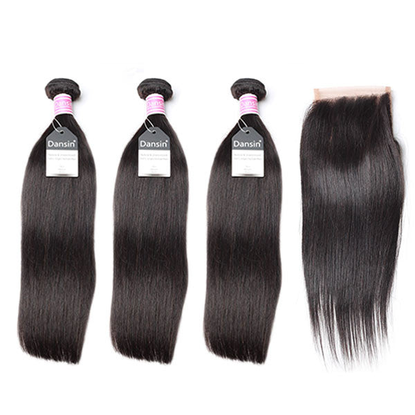 Luxury 10A Peruvian Straight Hair 3 Bundles With 1 Pc Lace Closure