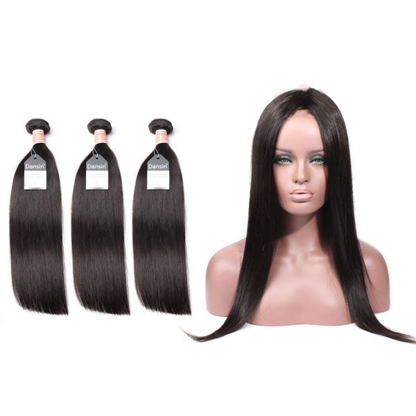 Malaysian Straight Hair 3 Bundles With 1 Pc 360 Lace Frontal