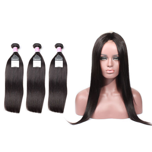 Luxury 10A Peruvian Straight Hair 3 Bundles With 1 Pc 360 Lace Frontal