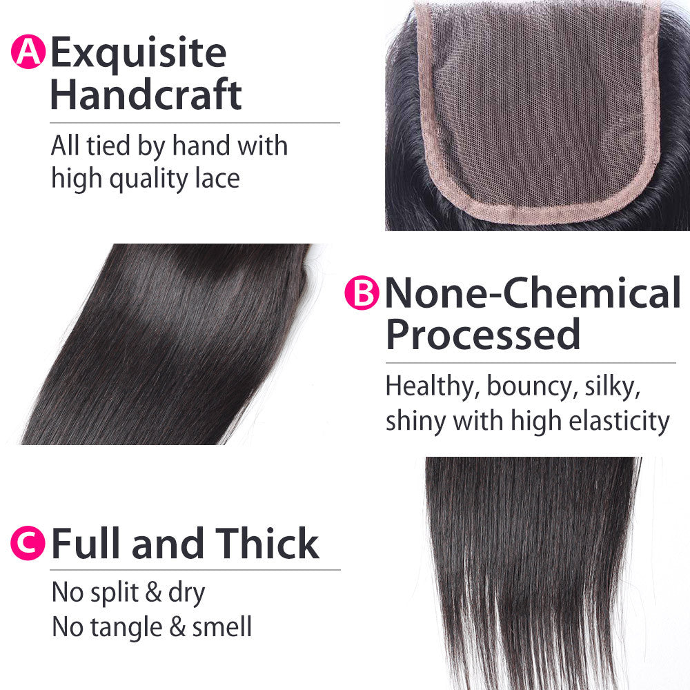 Luxury 10A Straight Lace Closure Details