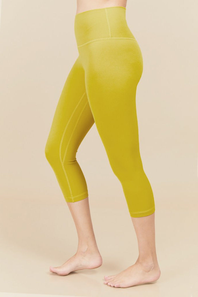 Active sahara Capri in bright yellow (with Pocket)