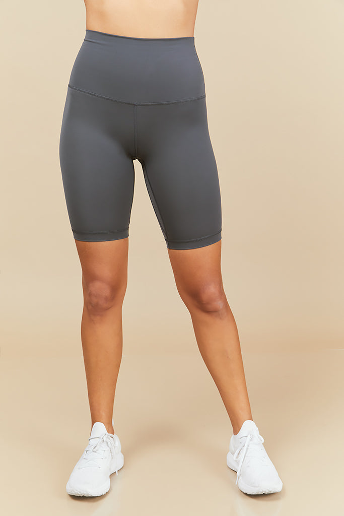 Active Biker Shorts in Dark Stone (with Pocket)