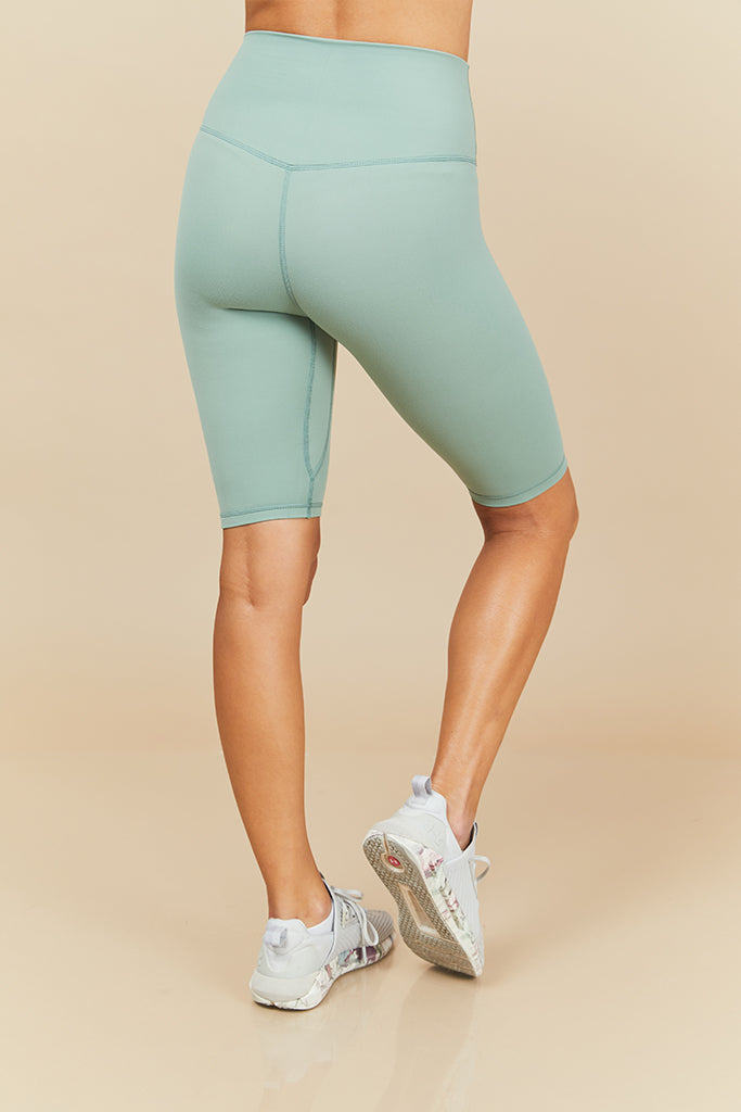 Active Biker Shorts in Light Green (with Pocket)