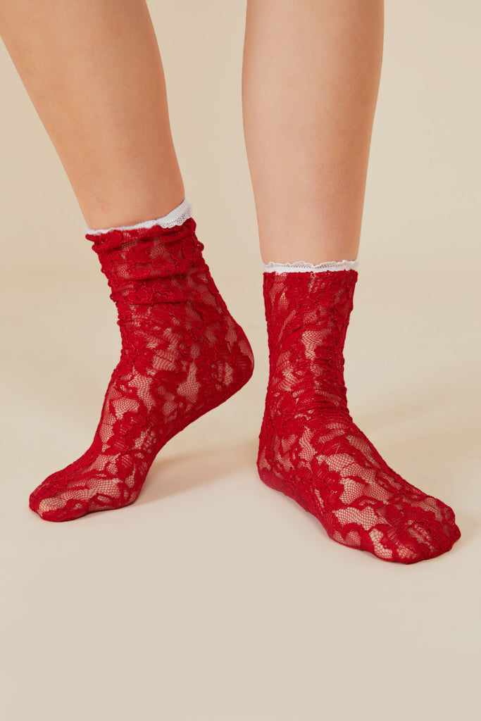 RED Lace Socks