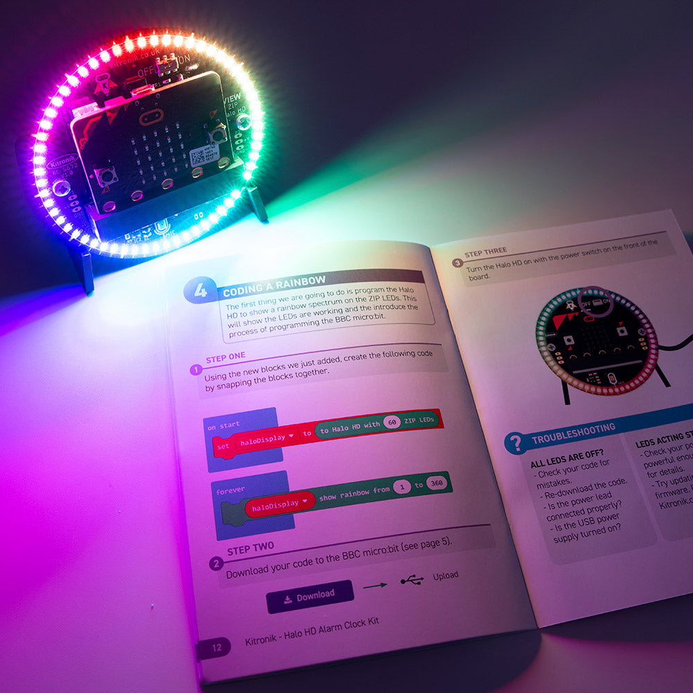 Alarm clock with kitronik instruction booklet and makecode blocks