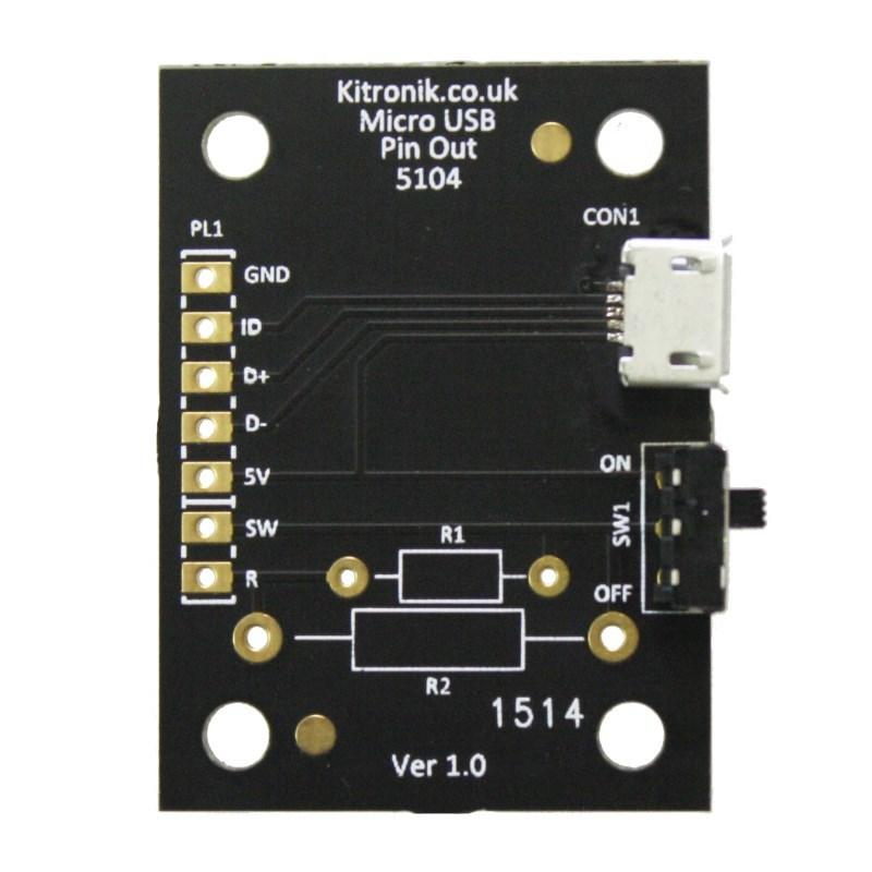 Kitronik Micro USB Breakout Board, with Power Switch