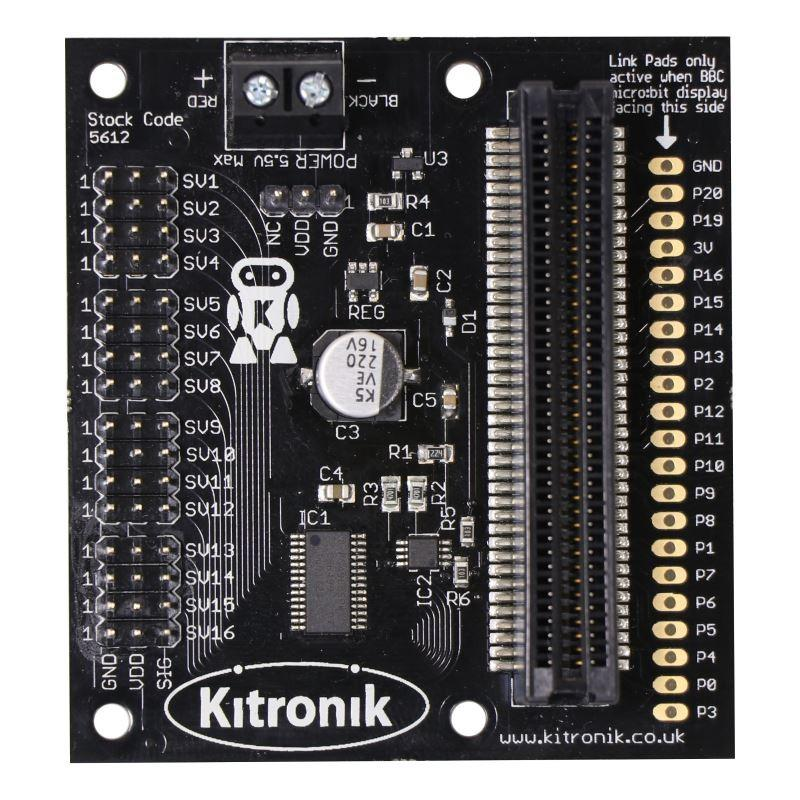 Kitronik 16 servo driver board for the BBC micro:bit, with 16 x micro 180 servos and battery cage