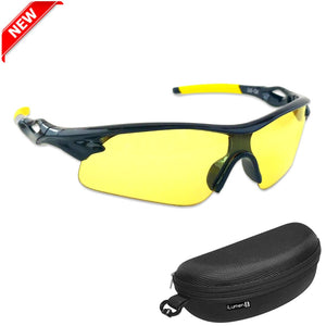 Shooting Glasses and UV Flashlight Yellow Safety Glasses by iLumen8 (1 PAIR with case)