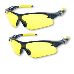 Shooting Glasses and UV Flashlight Yellow Safety Glasses by iLumen8 (2 PAIR with 2 Cases)
