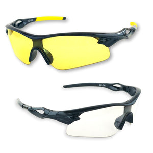 Shooting Glasses and UV Flashlight Yellow Safety Glasses by iLumen8  (Pale Yellow and Clear Lens ,2 PAIR with cases)