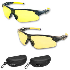 (2 pair combo) HD Polarized Night Driving Glasses & 'Pale Yellow' Night Vision Glasses