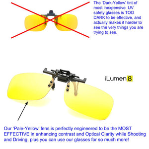 Night Driving and Shooting UV Safety Glasses Clip-On Fit Over Prescription 2 pair yellow