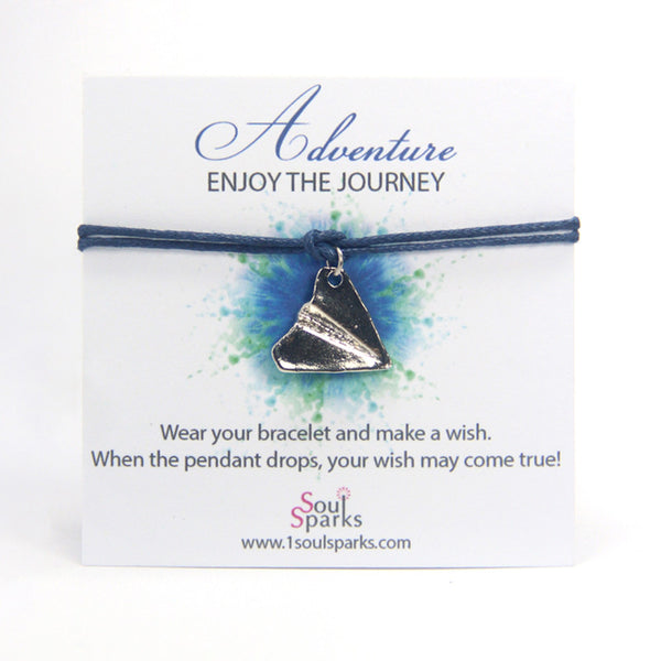 Adventure enjoy the journey- paper airplane wish bracelet