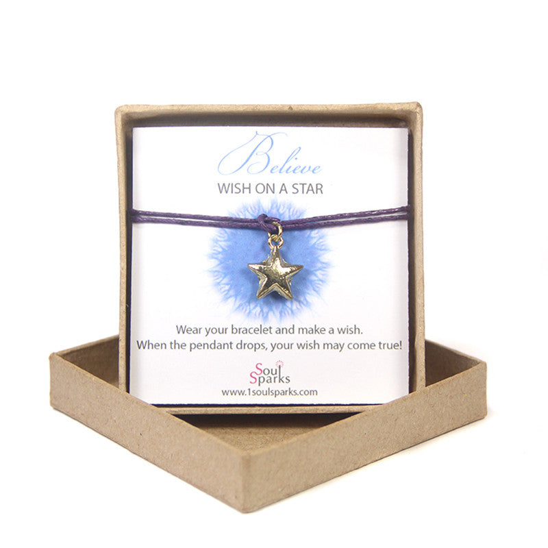 Believe wish on a star- gold star bracelet