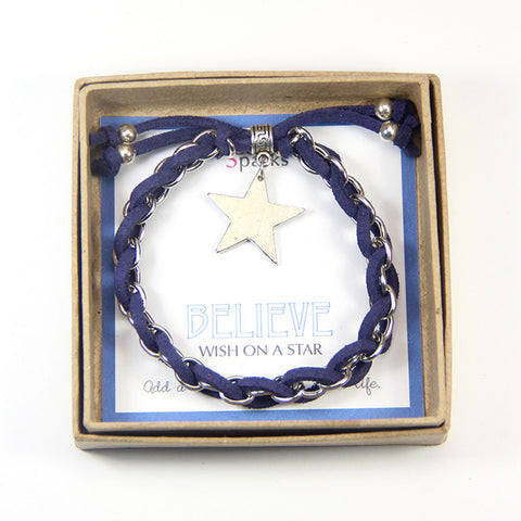 Believe wish on a star- Star charm bracelet