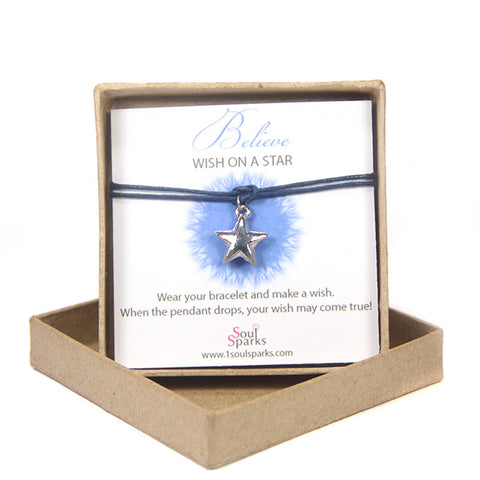 Believe wish on a star- silver star bracelet