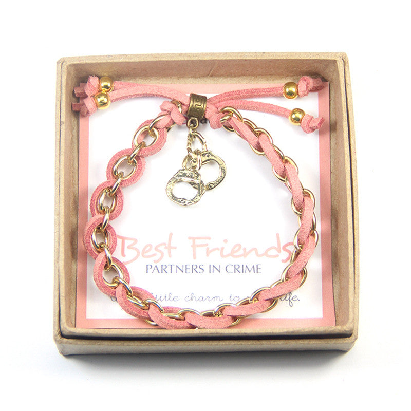 Best Friends Partners in Crime Handcuffs Charm Friendship Bracelet