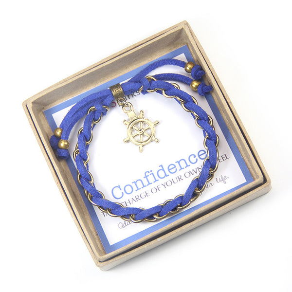 Confidence Charm Bracelet, Nautical theme bracelet, Navy Blue and Gold Bracelet, Inspirational Jewelry