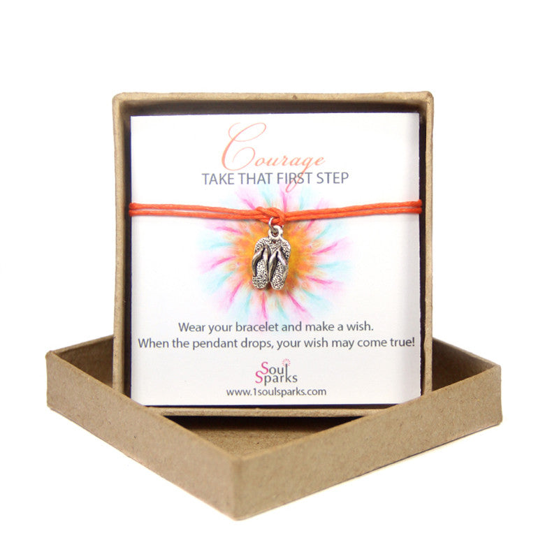 Courage take that first step- slipper wish bracelet