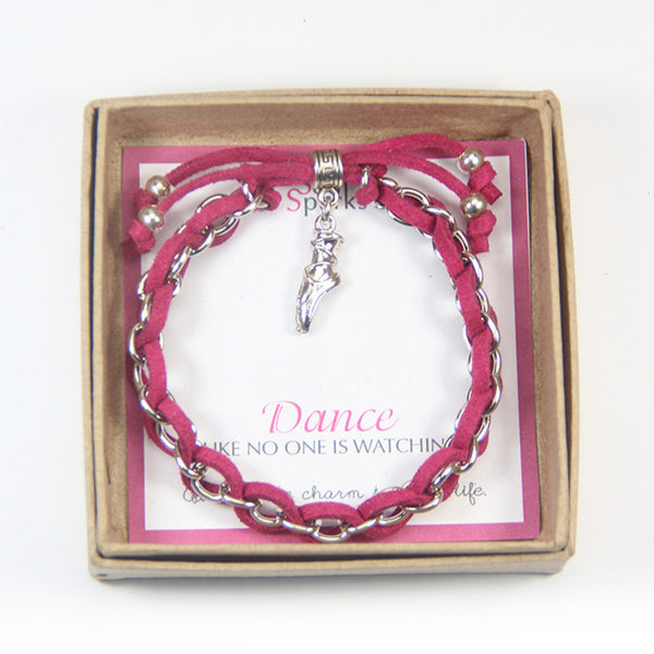 Dance Like no one is watching- ballet shoe charm bracelet