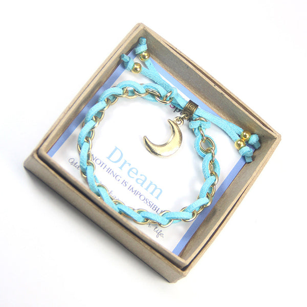 Dream nothing is impossible- moon charm bracelet