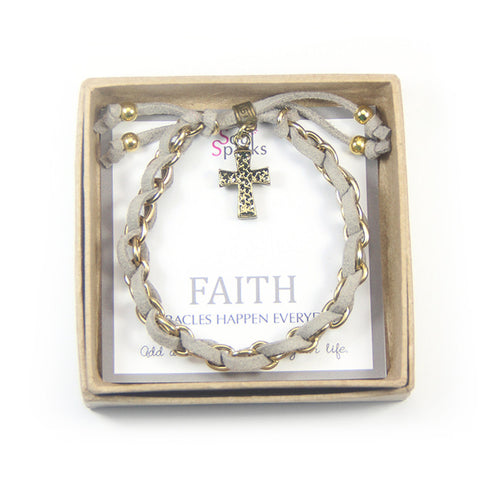 Faith miracles happen- cross charm bracelet