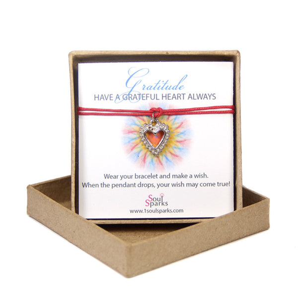Gratitude have a grateful heart always- heart wish bracelet