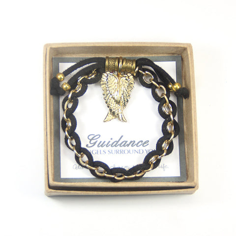 Guidance angel surrounds you- angel wings charm bracelet