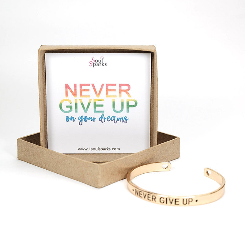 Never give up gold cuff bracelet