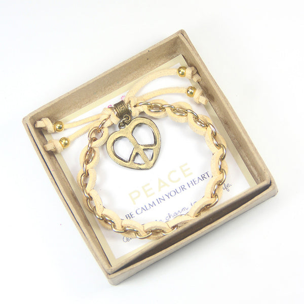 Peace be calm in your heart- heart charm bracelet