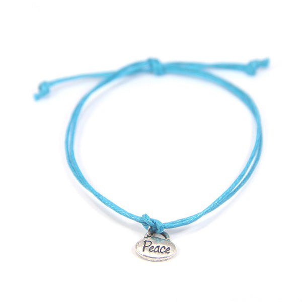 Peace be calm in your heart- tiny peace sign wish bracelet