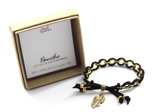Breathe let go of your worries- feather charm bracelet