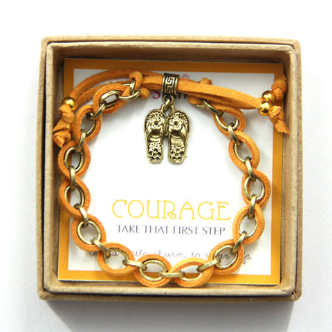 Courage take that first step- slippers charm bracelet