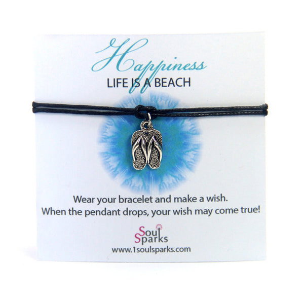 Happiness life is a beach- Flip flops Slippers Wish Bracelet