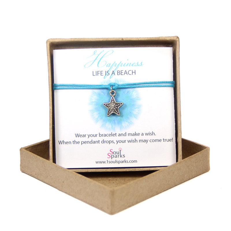 Happiness life is a beach- starfish wish bracelet
