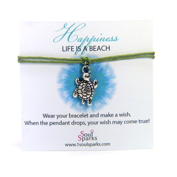 Happiness life is a beach- turtle wish bracelet
