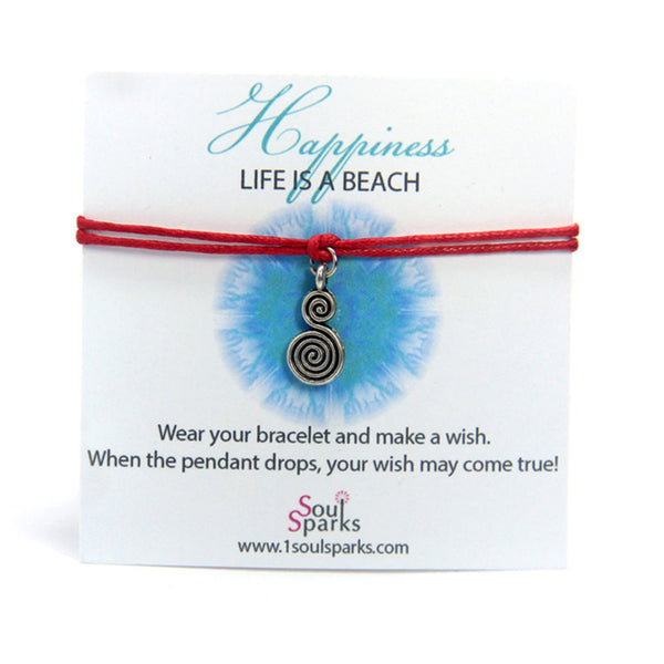 Happiness life is a beach- swirl wish bracelet