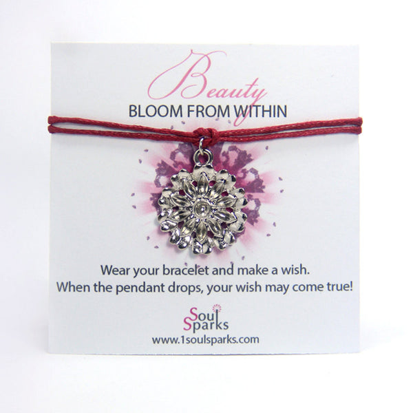Beauty bloom from within-big flower wish bracelet