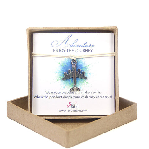 Adventure enjoy the journey- airplane wish bracelet